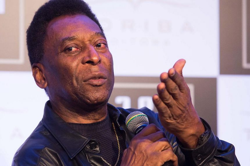 Former Brazilian football player Edson Arantes do Nascimento, known as Pele, speaks during a press conference regarding the launching of his book 1283 (number which represents the goals he scored in his career), at the Museum of Image and Sound, in S