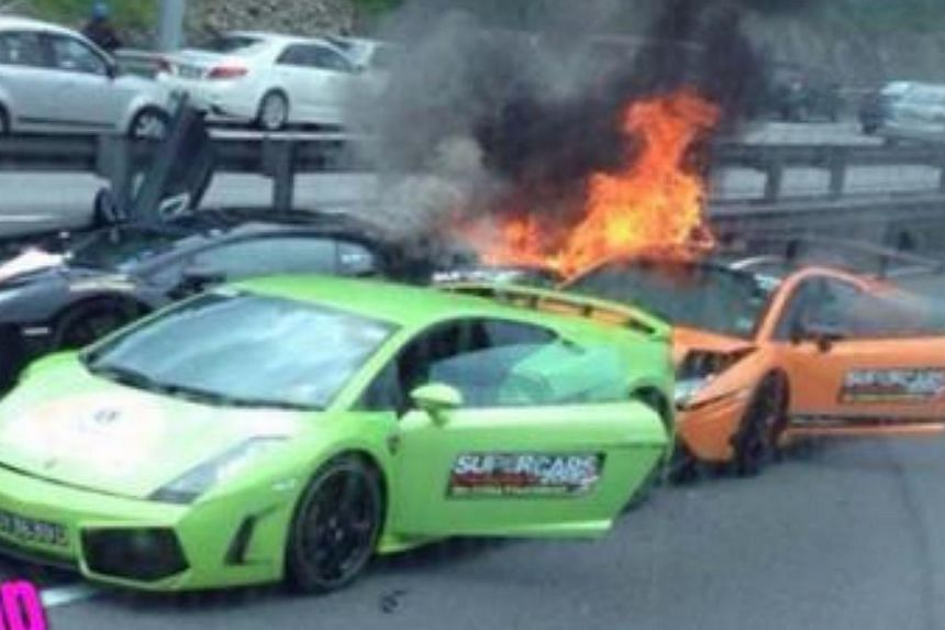 Three Singapore-registered Lamborghinis, that were purportedly en-route to Kuala Lumpur, crashed on Malaysia's North-South Expressway on Friday morning, according to citizen journalism website Stomp. -- PHOTO: STOMP