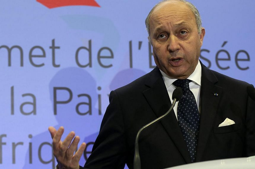 French Foreign Affairs Minister Laurent Fabius attends a news conference in Paris after a meeting of Foreign Affairs ministers of African nations as part of the Elysee Summit for Peace and Security in Africa, Dec 5, 2013. Mr Fabius on Thursday paid h