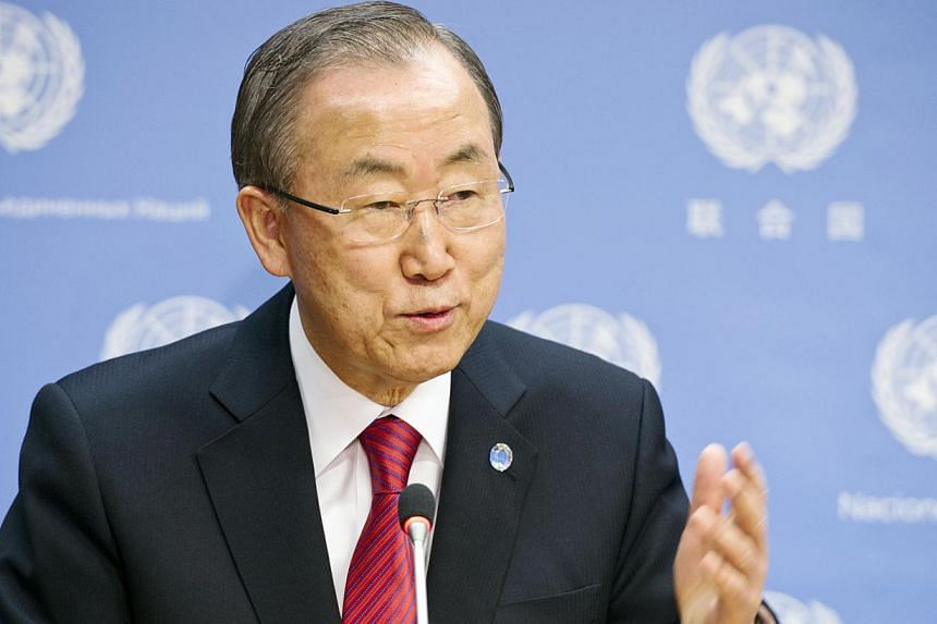 """United Nations Secretary General Ban Ki Moon: """"He touched our lives in deeply personal ways.""""-- FILE PHOTO: AFP"""