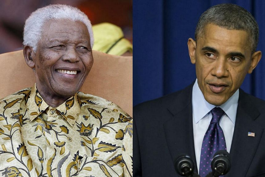 A combination picture of Former South African President Nelson Mandela and President Barack Obama. -- FILE PHOTOS: AFP/AP