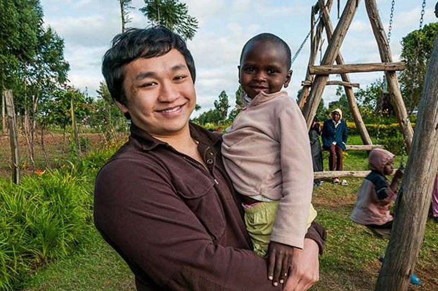 SMU student Nelson Goh on a visit earlier this year to the girls' orphanage in Kenya where he volunteers his time. He and fellow student Gary Lee organised a community project there in 2011. -- PHOTO: COURTESY OF NELSON GOH