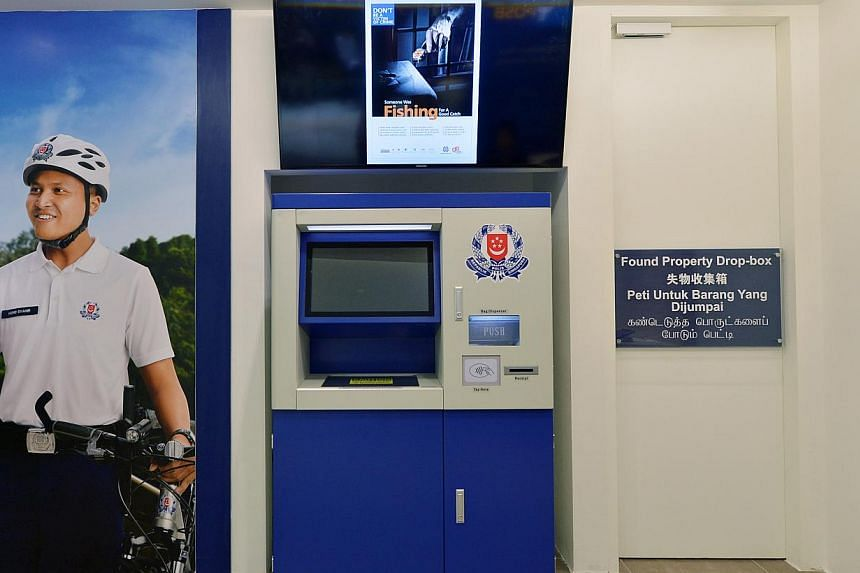 The Found Property Drop-box at the West Coast Neighbourhood Police Post (NPP). Three NPPs in West Coast, Radin Mas and Marsiling, will be fully automated from Saturday, the first time since NPPs were introduced here 30 years ago. -- PHOTO: ALPHONSUS