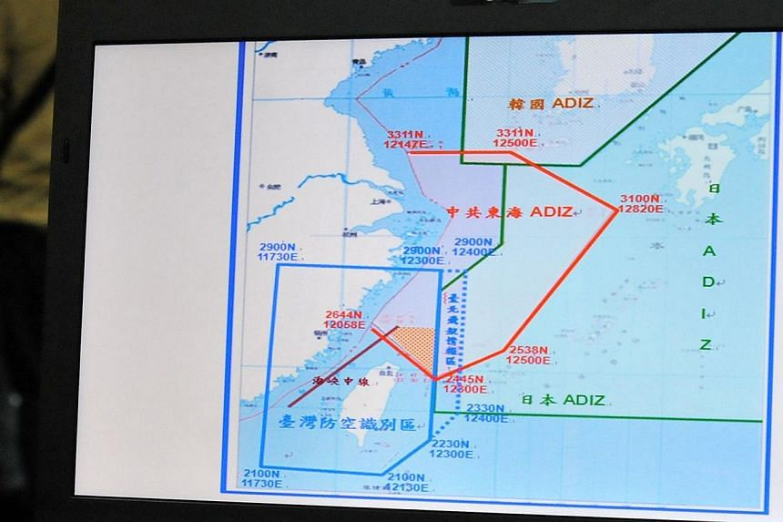 A map of the Air Defence Identification Zone (ADIZ) in the East China Sea is displayed during a press conference in Taipei on December 2, 2013. -- FILE PHOTO: AFP