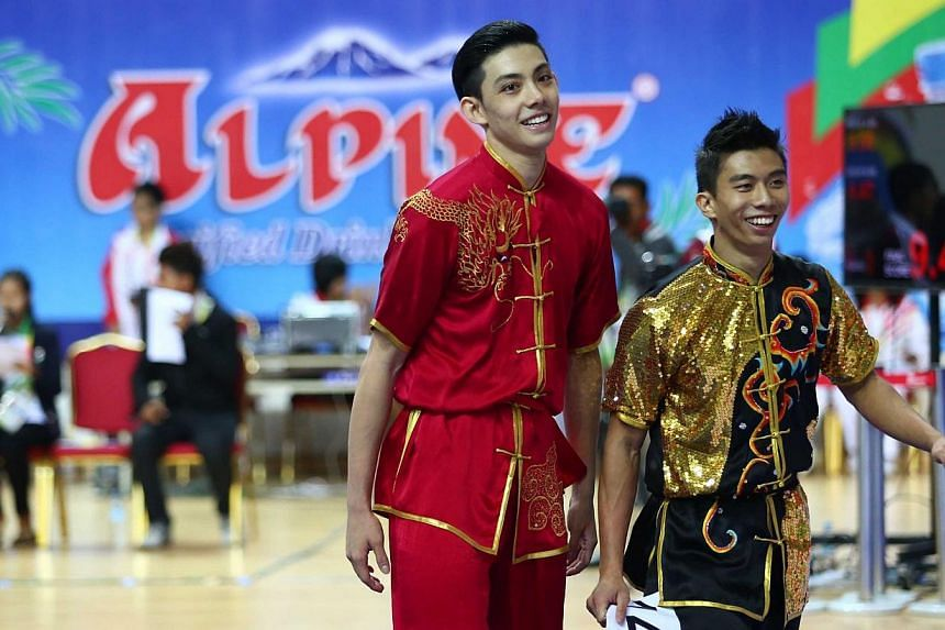 Lee Tze Yuan (left), 23, and Yong Yi Xiang, 19, clinched a bronze medal in the men's duilian (barehand) event. Singapore's wushu contingent won their first medals of the SEA Games on Sunday afternoon at the Wunna Theikdi Indoor Stadium in Naypyidaw,