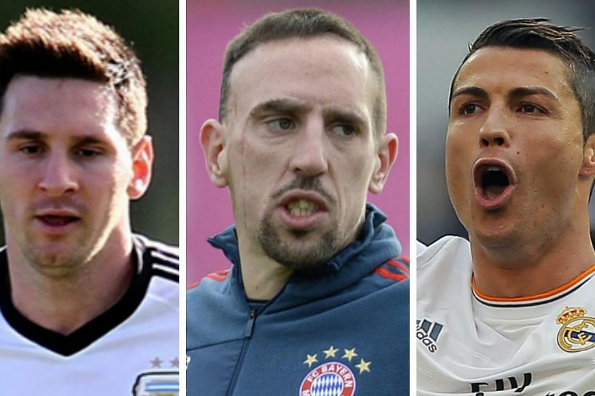 (From left) Lionel Messi, Franck Ribery and Cristiano Ronaldo were on Monday, Dec 9, 2013, shortlisted for this year's Ballon d'Or, football's world governing body Fifa and sponsors France Football magazine said. -- FILE PHOTOS: AP, AFP
