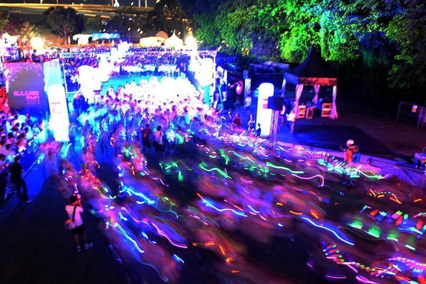 The Illumi Run will return for a second edition next year, after a successful debut on Saturday night at the F1 Village. -- PHOTO: ILLUMI RUN