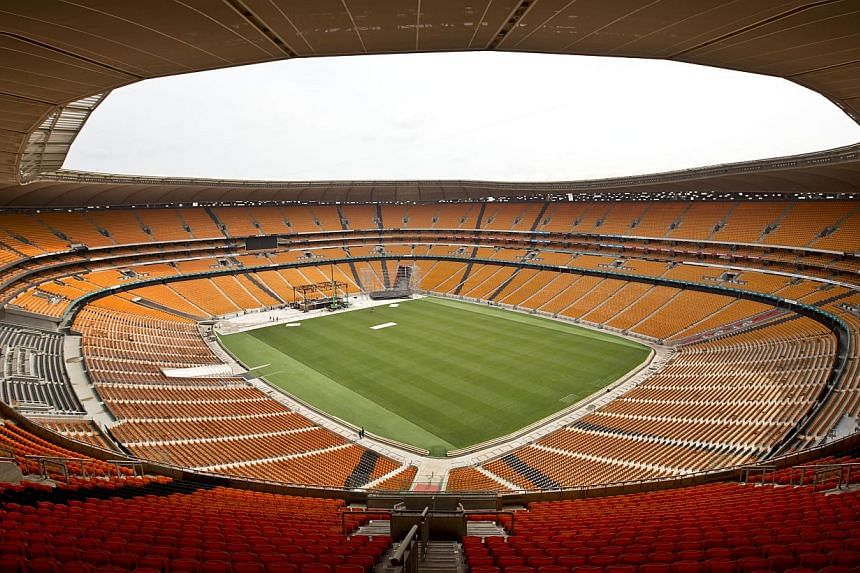 The FNB stadium, where the memorial service for Nelson Mandela will take place, is seen in Johannesburg, South Africa on Monday, Dec 9, 2013. Scores of heads of state and other foreign dignitaries are beginning to converge on South Africa as the