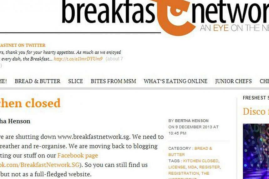 Socio-political commentary site Breakfast Network will be shutting down, said its founder Bertha Henson late Monday night. -- SCREENGRAB: BREAKFAST NETWORK