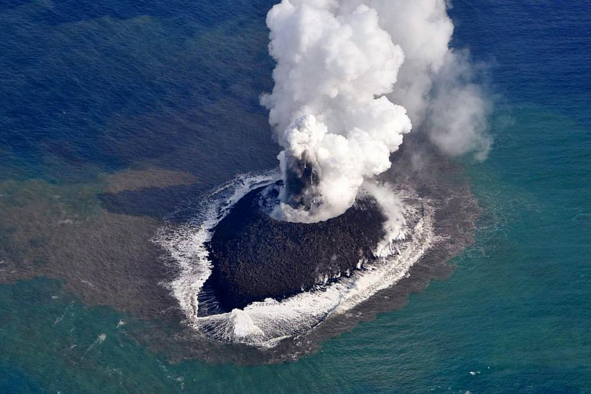 The new island created by a volcanic eruption off Japan's coast is here to stay - for now at least, scientists said on Tuesday, Dec 10, 2013 adding the new land mass could withstand erosion for several years. -- PHOTO: AFP