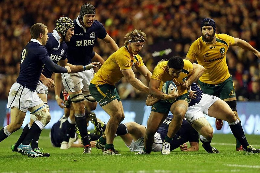 Australia's international rugby union (wearing yellow) in action against Scotland and Australia in Edinburgh in November 2013.  Australia will introduce a new domestic rugby competition in 2014 similar to South Africa's Currie Cup to help develo