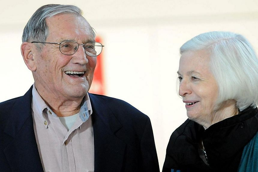 Korean War veteran Merrill Newman with his wife Lee after arriving at San Francisco International Airport on December 7, 2013 following his release from detention in North Korea.He was held for over a month in North Korea and said on Dec
