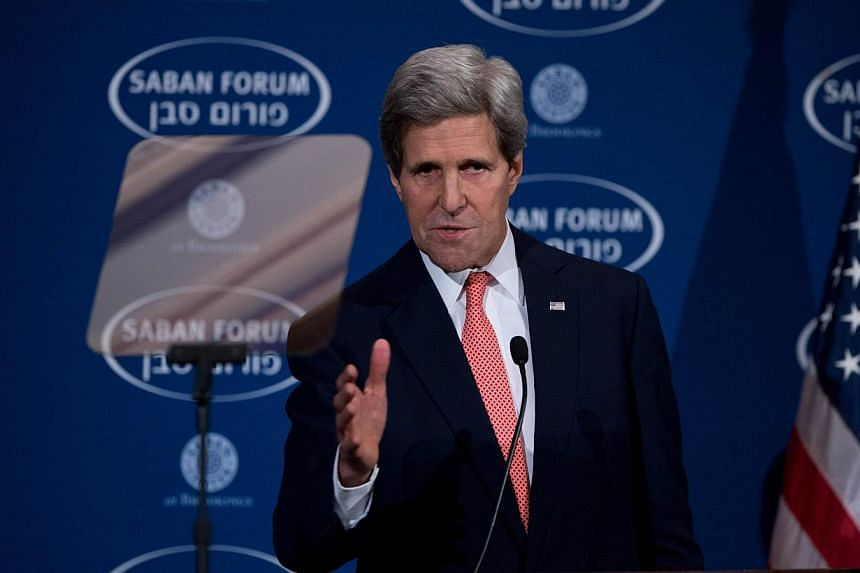 US Secretary of State John Kerry delivering the keynote address at the 10th Anniversary Saban Forum in Washington on Dec 7, 2013. Mr Kerry will return to Israel and the West Bank this week just days after his last visit, a US official said on Mo