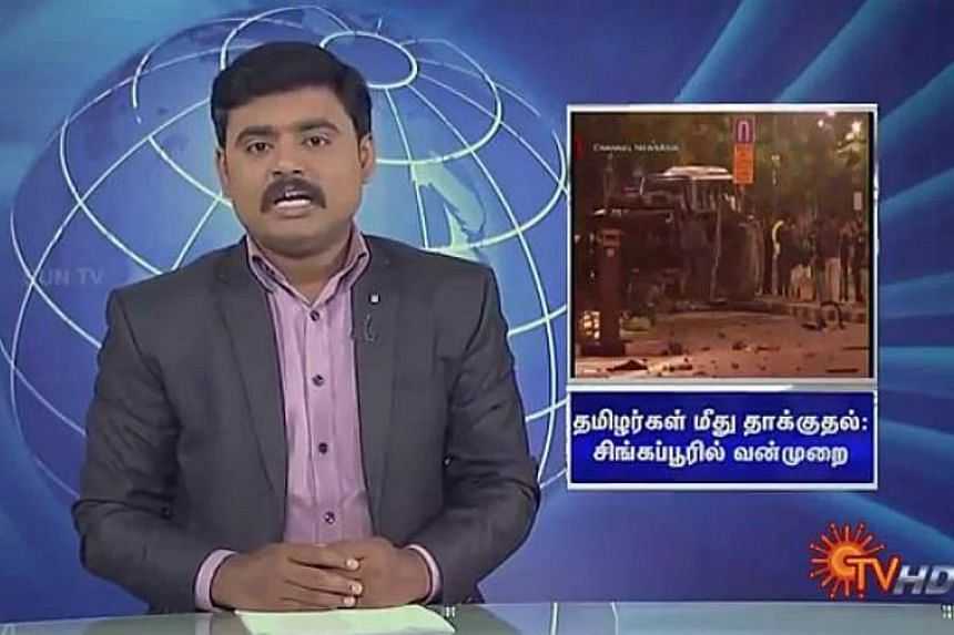 """Singapore's High Commissioner to India Lim Thuan Kuan has written to India's Sun TV Network to ask for immediate corrections to its """"erroneous"""" coverage of Sunday's riot in Little India. -- PHOTO: SCREEN CAPTURE FROM YOUTUBE"""