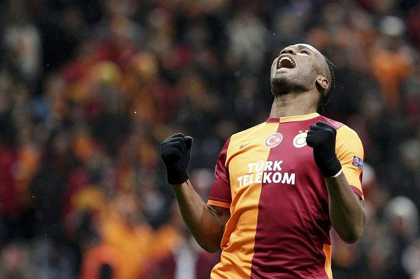 """Didier Drogba of Galatasaray during the Champions League match against Juventus in Istanbul on Dec 10, 2013. Jose Mourinho hopes Chelsea are paired with Galatasaray in Monday's draw for the Champions League last 16 so that """"King Didier"""" can return to"""