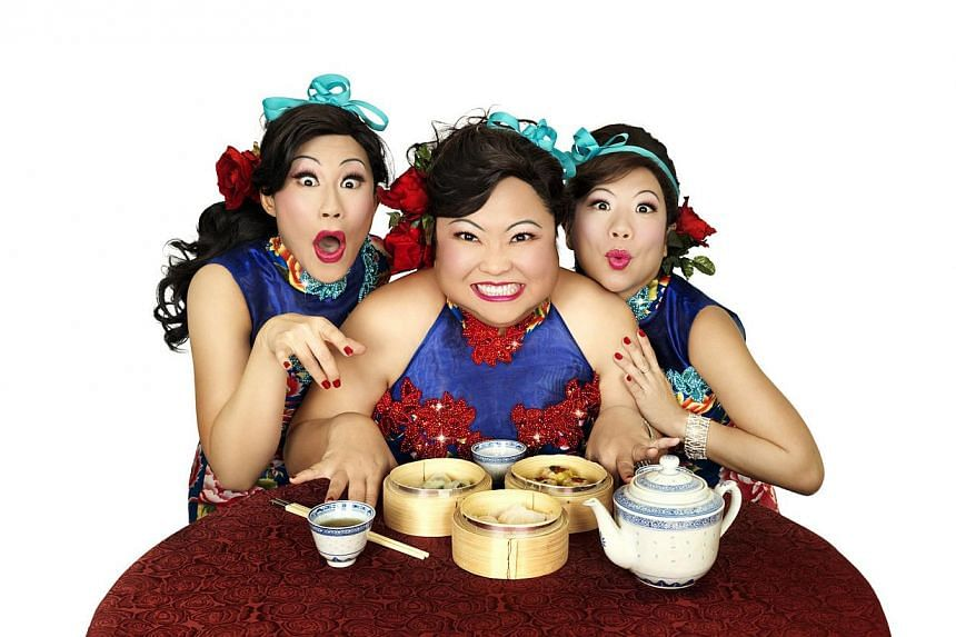 (From left) Denise Tan, Selena Tan and Pam Oei in Ting Tong Belles by Dream Academy. -- PHOTO: DREAM ACADEMY