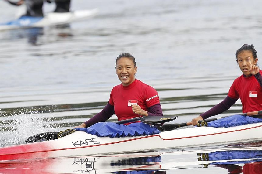 Singapore's duo of Stephenie Chen (left) and Suzanne Seah row their way to gold in the women's K2 200m at Ngalike Damduring the 27th SEA Games in Naypyidaw, Myanmar, on Friday, Dec 13, 2013. Singapore's canoeists ended their SEA Games campaign