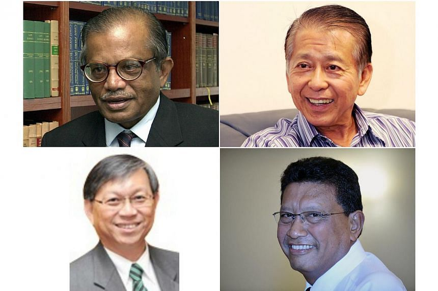 The four-member Committee of Inquiry to look into the riot at Little India will be chaired by former judge of the Supreme Court G. Pannir Selvam (top left). Other members are (clockwise from top right) former commissioner of police Tee Tua Ba, former