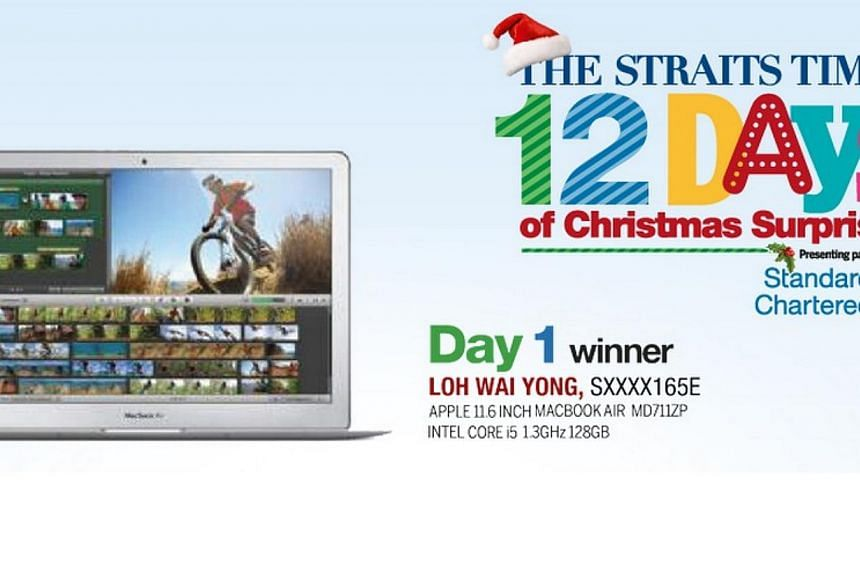 Madam Loh Wai Yong, 65,is the first winner of the inaugural Straits Times 12 Days of Christmas Surprises. -- ST GRAPHIC