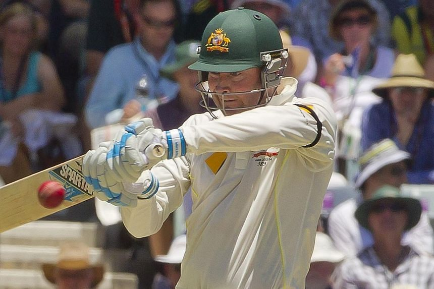 Australian batsman captain Michael Clarke cuts a ball off the England bowling on the first day of the third Ashes cricket Test match in Perth, on Dec 13, 2013. Clarke has won the Sir Garfield Sobers Trophy after being named ICC Cricketer of the