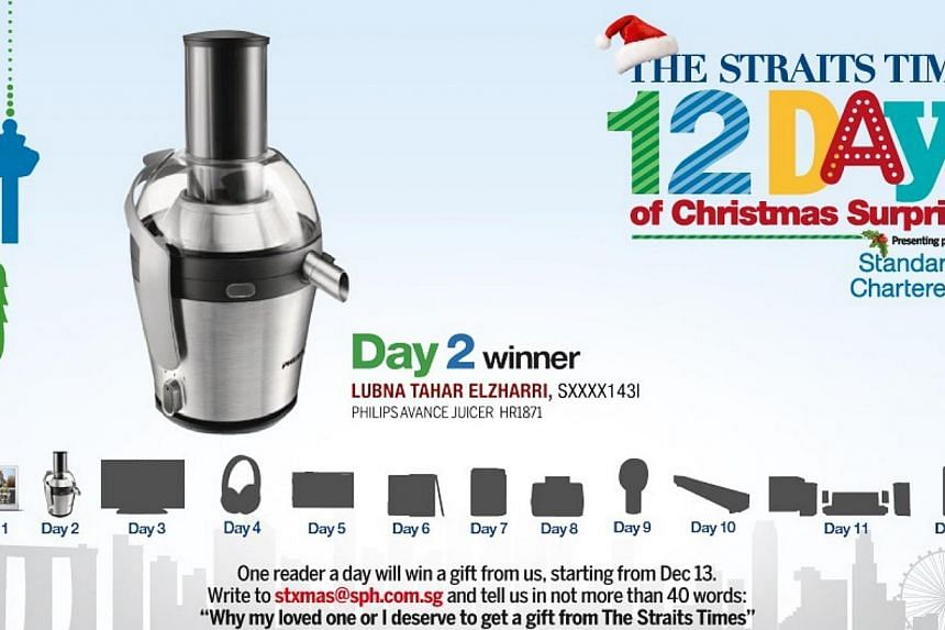 As the Day 2 winner of The Straits Times 12 Days of Christmas Surprises contest, MadamLubnaTahar, a 39-year-old finance manager, has won a Philips Avance Juicer.-- ST GRAPHIC