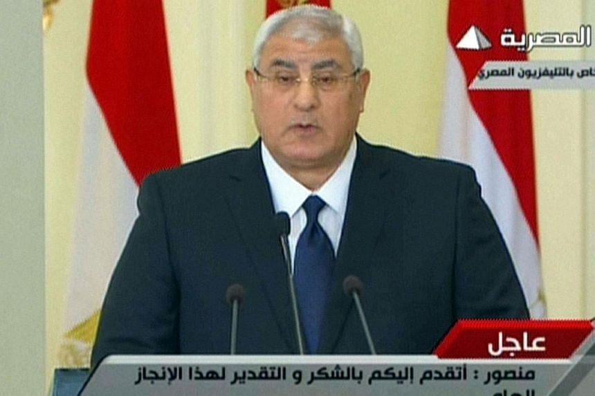 Egypt interim president Adly Mansour giving a speech to the nation where the date for a referendum on a controversial new constitution was announced for Jan 14-15. Egypt said on Saturday, Dec 14, 2013, a referendum on a new draft constitution will be