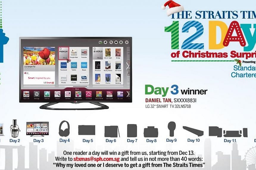 The Day 3 winner of the inaugural The Straits Times 12 Days of Christmas Surprises contest, Mr Tan will take home an LG 32-inch LED LCD television, courtesy of our presenting partner Standard Chartered. -- ST GRAPHIC