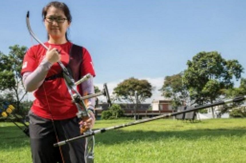Singapore's Chan Jing Ru won gold in the women's recurve (individual) competition at the Wunna Theikdi Archery Field on Monday. -- PHOTO: TEAM SINGAPORE