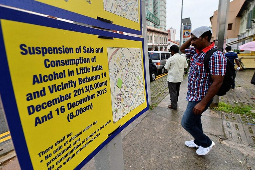 A notification of the suspension of sale and consumption of alcohol in Little India on Sunday, Dec 15, 2013. There was no breach of the ban imposed by the Singapore authorities on the sale and consumption of alcohol in the proclaimed areas of L