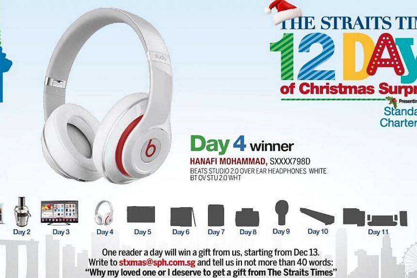 Kaiser and his father are the Day 4 winners of The Straits Times 12 Days of Christmas Surprises contest, walking away with a pair of Beats Studio 2.0 headphones.-- ST GRAPHIC