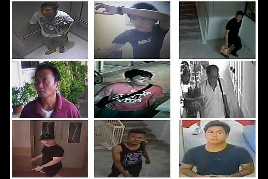 Photos from the Singapore Police Force website of suspects allegedly involved in loan-sharking activities. The police are requesting anyone with information to call their hotline.