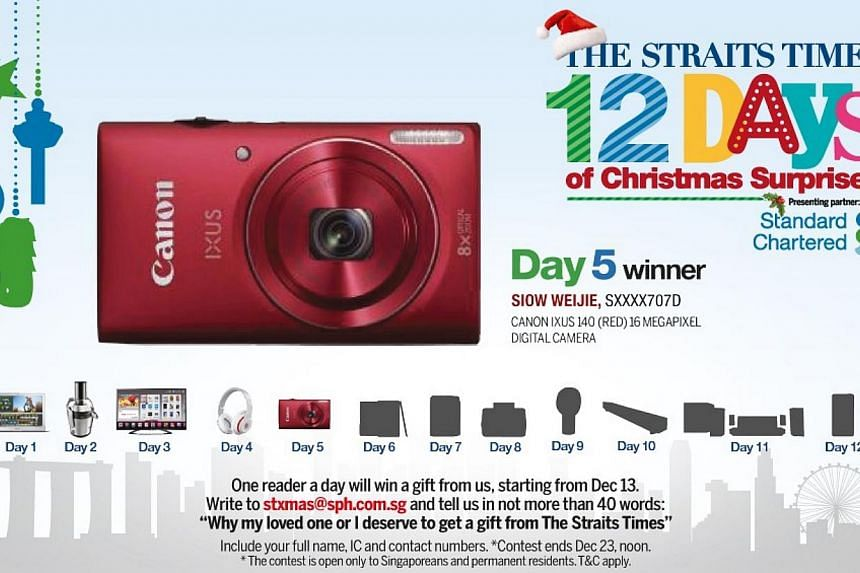 The Day 5 winner of the inaugural The Straits Times 12 Days of Christmas Surprises contest, Mr Siow Weijie,will give hisCanon 16.1-megapixel digital camera to his mother.-- ST GRAPHIC