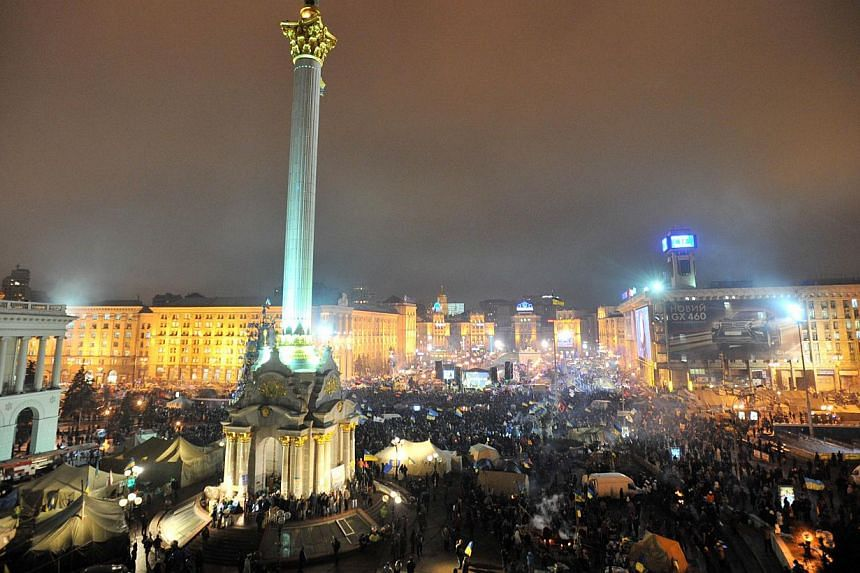 A view of Independence Square in central Kiev during an opposition rally on Dec 17, 2013. Russia agreed a US$15 billion (S$18.9 billion) bailout for Ukraine and slashed the price of gas exports on Tuesday under a deal that keeps the cash-strappe