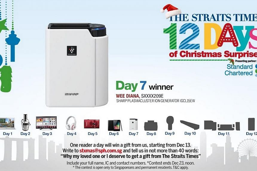 The Day 7 winner of the inaugural The Straits Times 12 Days of Christmas Surprises contest is Madam Diana Wee.-- ST GRAPHIC