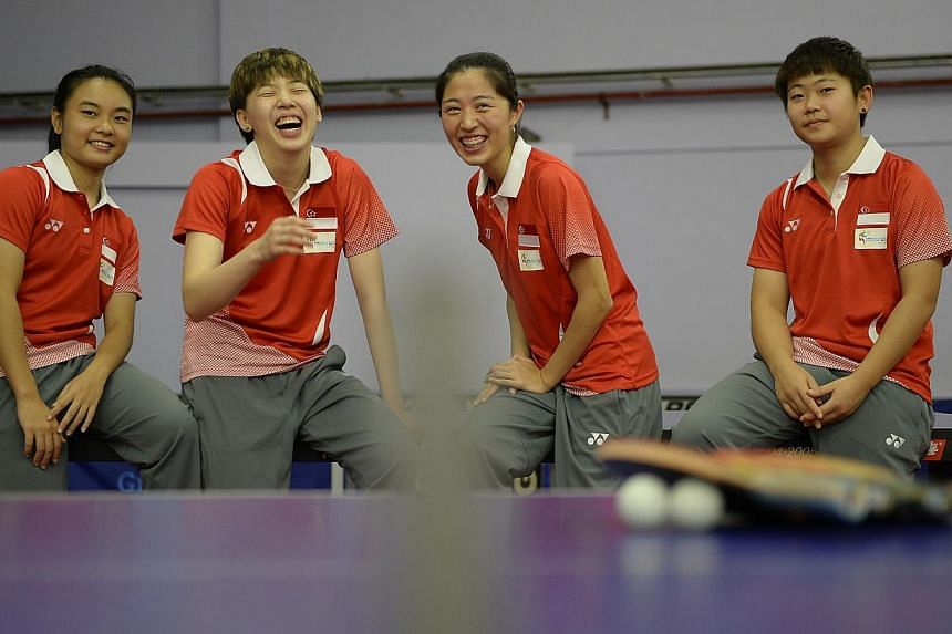 Singapore paddlers Isabelle Li, Zhou Yihan, Yu Mengyu and Lin Ye. Singapore's paddlers produced a dominant performance to clinch SEA Games golds in both the men's and women's team events in Naypyidaw on Thursday. -- ST FILE PHOTO: MUGILAN RAJAS