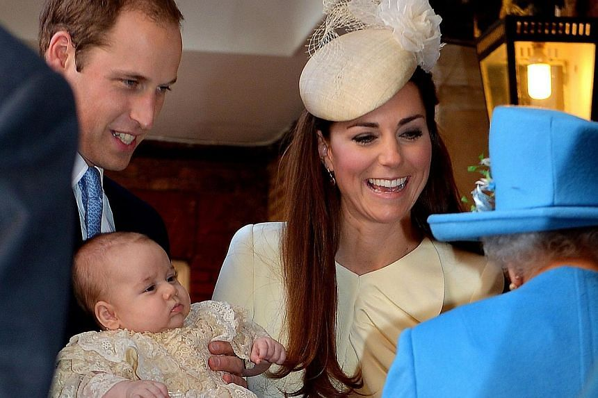 Britain's Prince William, Duke of Cambridge and his wife Catherine, Duchess of Cambridge, speak with Queen Elizabeth II as they hold their son Prince George of Cambridge at Chapel Royal in St James's Palace in central London on Oct 23, 2013.Pri