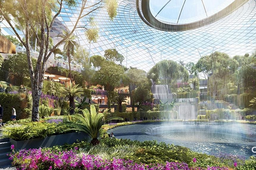 Artist's impression of a breathtaking central waterfall, one of the key features at Project Jewel at Singapore Changi Airport. Changi Airport has inked a joint venture with CapitaMalls Asia to develop the much-touted Project Jewel, which will be the