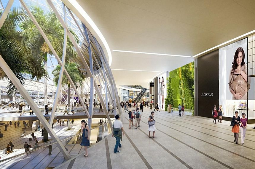 Artist's impression of a mixed-use complex being planned as part Project Jewel to be built at Changi Airport. -- FILE PHOTO:CHANGI AIRPORT GROUP
