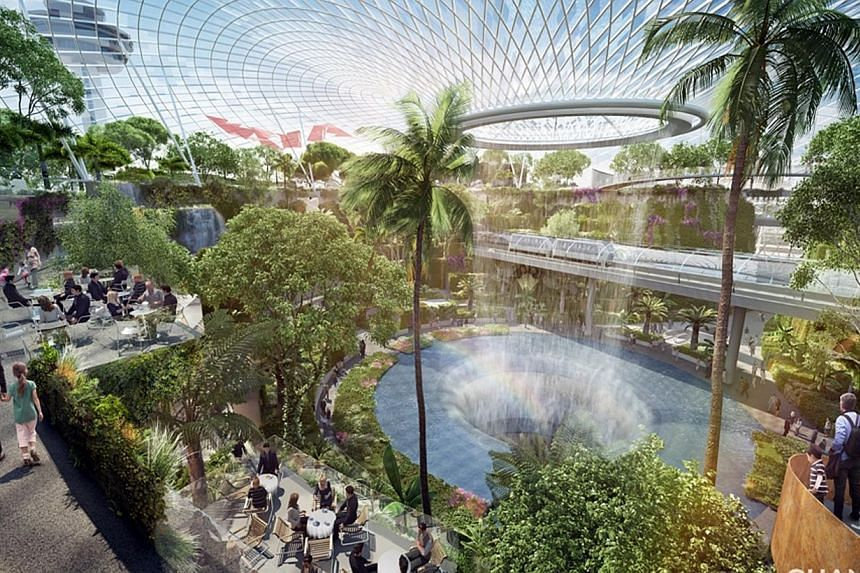 Artist's impression of a breathtaking central waterfall, one of the key features at Project Jewel at Singapore Changi Airport. -- FILE PHOTO:CHANGI AIRPORT GROUP