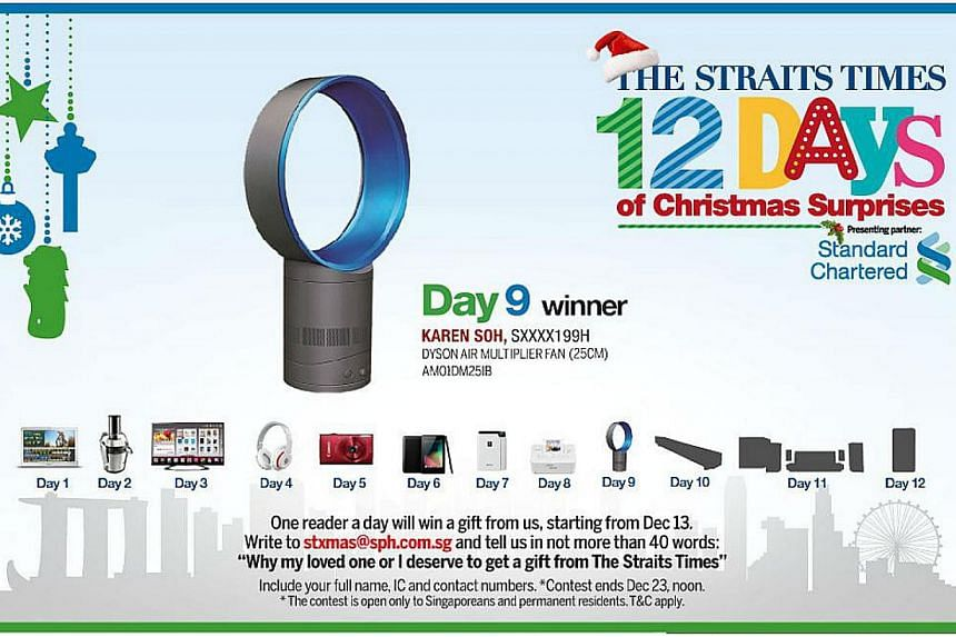 The Day 9 winner of the inaugural The Straits Times 12 Days of Christmas Surprises contest is Dr Karen Soh. -- ST GRAPHIC