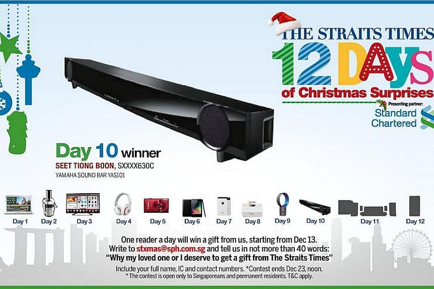 The Day 10 winner of the inaugural The Straits Times 12 Days of Christmas Surprises contest is Madam Seet Tiong Boon. -- ST GRAPHIC