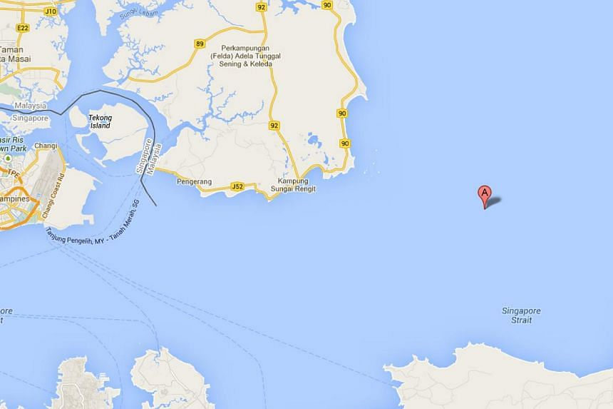 Screen capture from Google Maps shows the approximate area where the barge capsized. After four days of drifting in the sea, one of the missing crew members of capsized Bolivia-flagged barge Heng Hong 168 has been found. -- PHOTO: SCREEN CAPTURE FROM