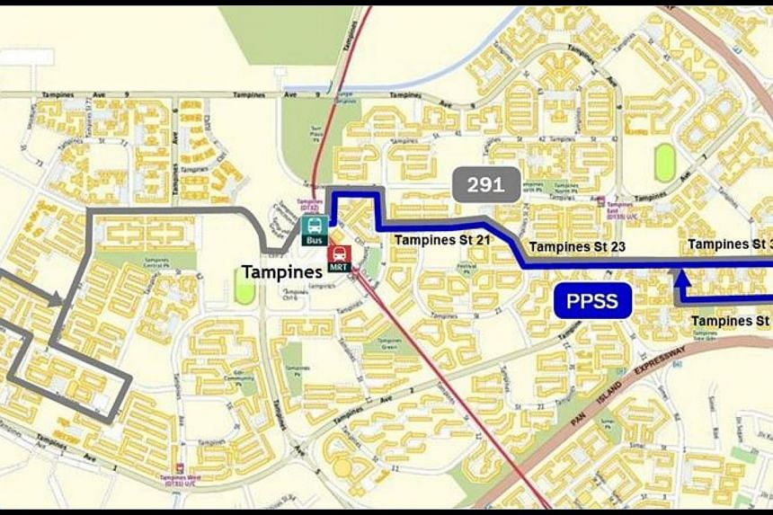 Peak Period Short Service complementing Bus Service 291:Tampines MRT Station/Bus Interchange to Tampines St 32/33.Five new bus services will be rolled out from the third quarter of next year to ferry residents from housing estates to MRT