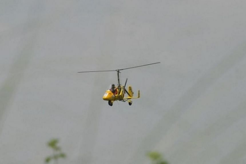 File photo of a gyrocopter. An 18-year-old Singaporean student has died in a gyrocopter crash in Victorian bushland, according to Australian reports. -- FILE PHOTO: AFP