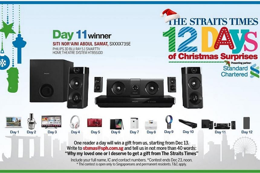 The Day 11 winner of the inaugural The Straits Times 12 Days of Christmas Surprises contest is Madam Siti Nor'aini Abdul Samat. -- ST GRAPHIC