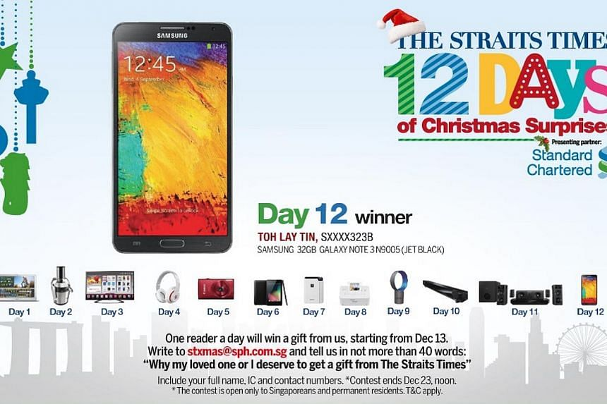 The Day 11 winner of the inaugural The Straits Times 12 Days of Christmas Surprises contest is Madam Toh Lay Tin.-- ST GRAPHIC