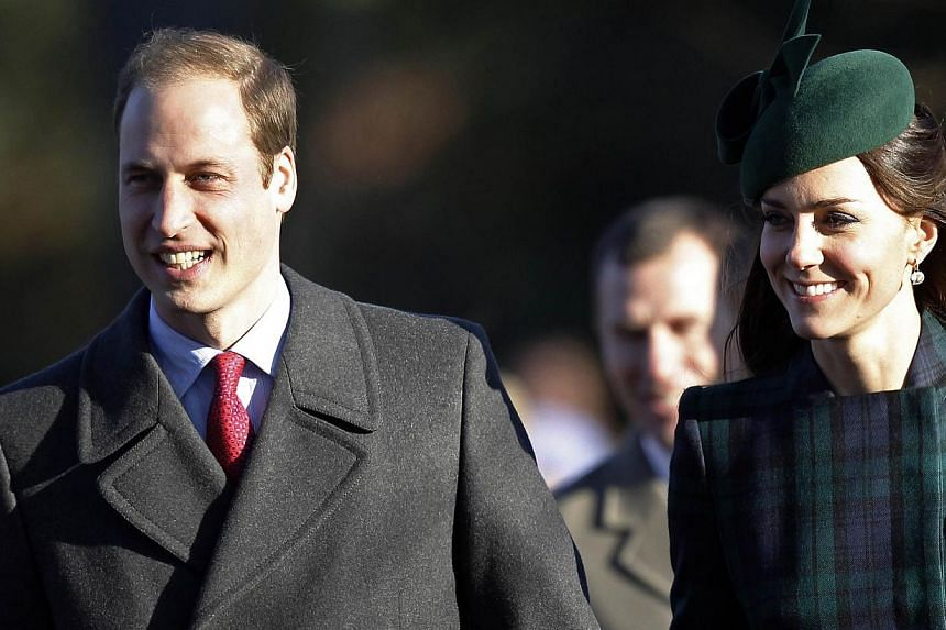 Britain's Prince William (left) and his wife Catherine, Duchess of Cambridge, arrive for a traditional Christmas Day Church Service at Sandringham in eastern England, on December 25, 2013. Prince William and Catherine left their baby son Prince