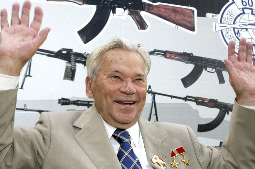 Mikhail Kalashnikov gestures during a news event marking the 200th anniversary of the Izhmash firearms producer in Izhevsk, on Aug 7, 2007.Russia was on Friday, Dec 27, 2013, to bury Mr Kalashnikov, the designer of the iconic AK-47 assault rifl