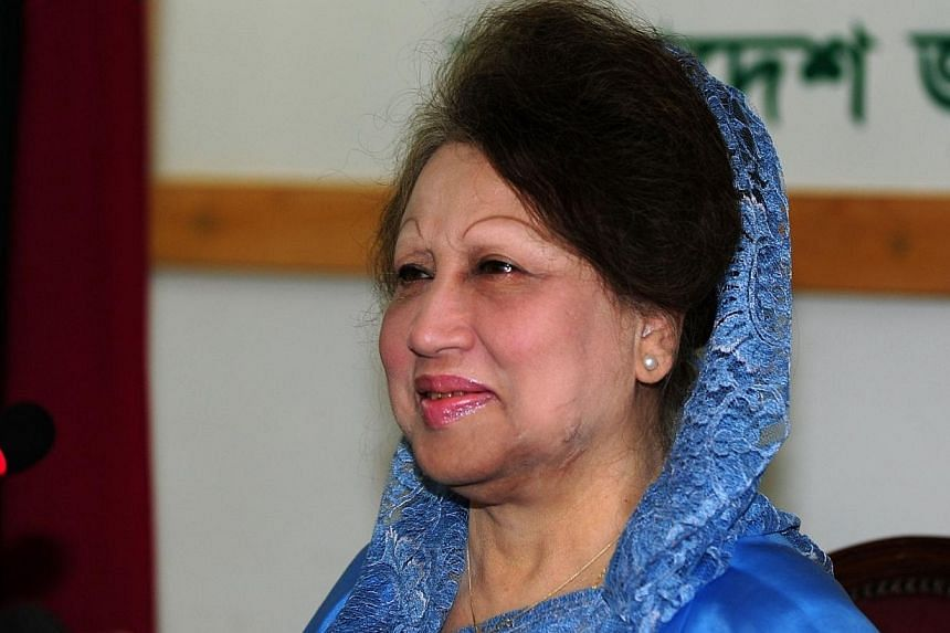 Bangladesh opposition leader Khaleda Zia speaks during a press conference in Dhaka, on Dec 24, 2013. Bangladesh opposition leader Khaleda Zia vowed on Friday, Dec 27, 2013, to go ahead with a mass march on Dhaka which is aimed at scuppering a Jan 5 g