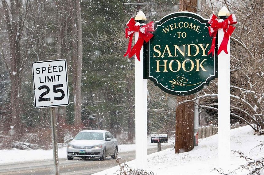 A sign welcoming visitors to Sandy Hook in Newtown, Connecticut on Dec 14, 2013.Disturbing details about last year's mass shooting were revealed on Friday when US police released thousands of pages of documents, photographs and recordings from